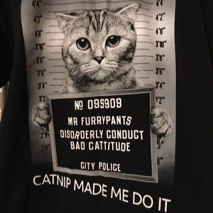 Fruit of the Loom Tops - Black Cat Disorderly Conduct T-Shirt Size Medium